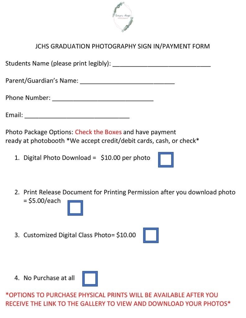 Pricing Sheet for Senior Family Pictures
