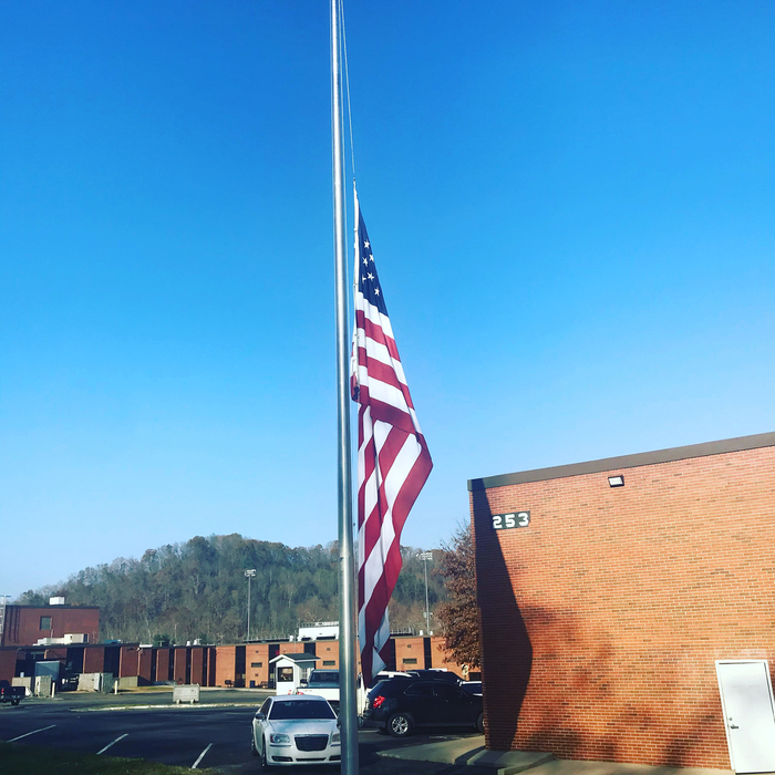 JCBOE Flag at half-staff
