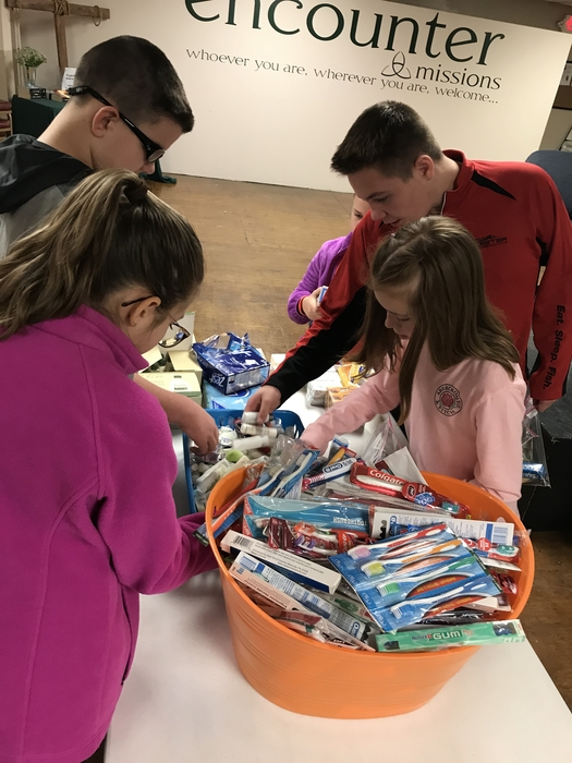 Filling Blessing Bags