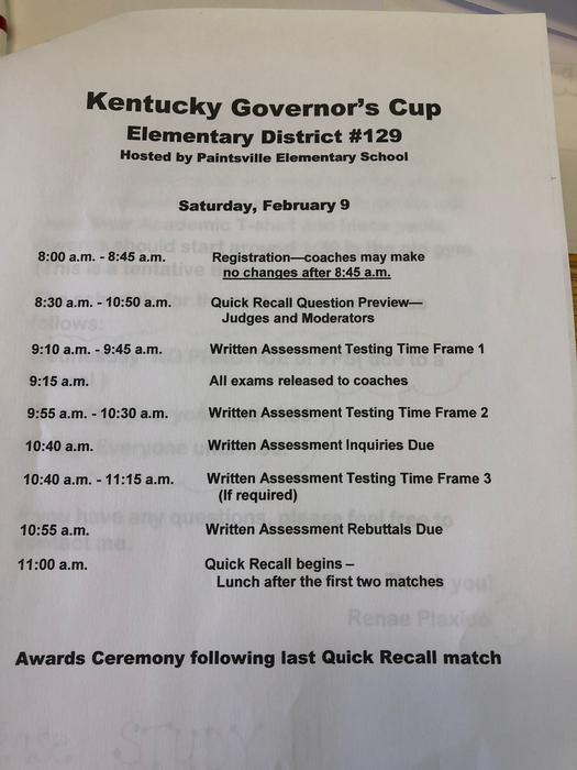 Schedule for tomorrow!