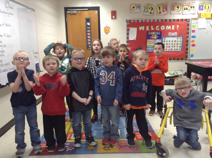Mrs. Barker's class dancing along on digital learning day!
