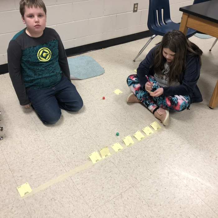 3rd grade working hard on their number line.