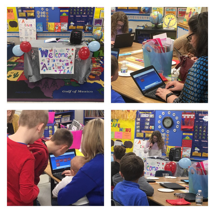 "Highland Elementary 2nd Grade class celebrated Read Across America by hosting an Author's Tea with a reading of their published book ""Traditions"".  Parents joined in a Nearpod reflection of the students' successful publishing."