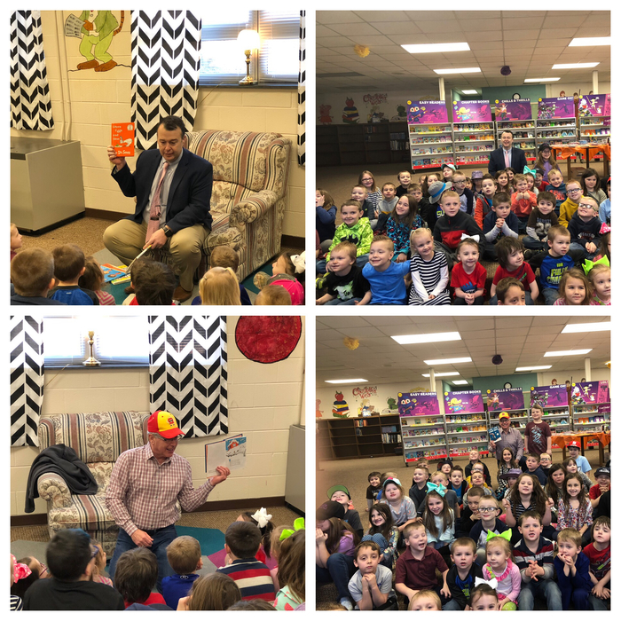 Thom Cochran and Bob Hutchison reading to Head Start, Kindergarten, and 1st grade!