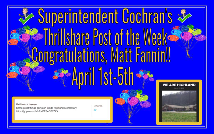 Matt Fannin Thrillshare of the week -April1-5