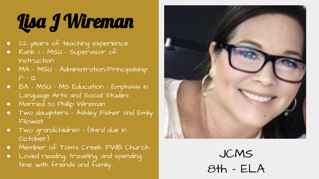 JCMS September Spotlight - Mrs. Wireman