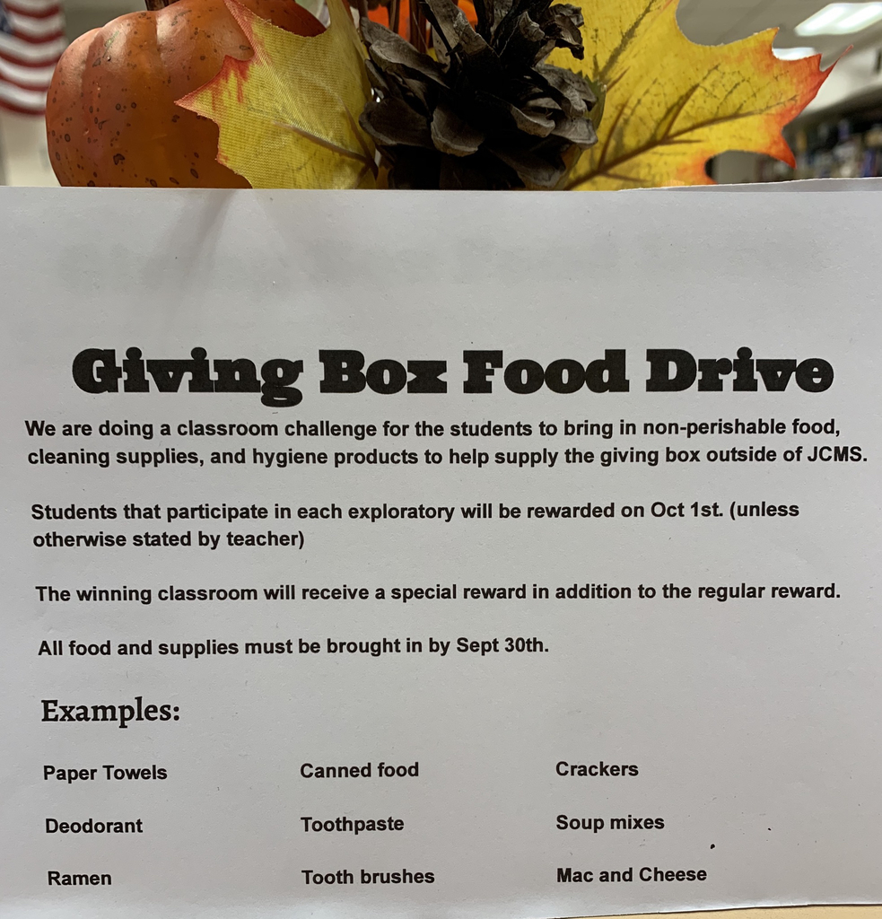 Art classes, life skills classes and music classes are asking students to bring donations for our Blessing Box next week.