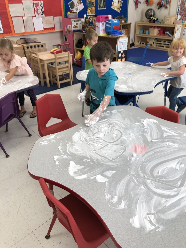 Zachary making shapes in shaving cream!