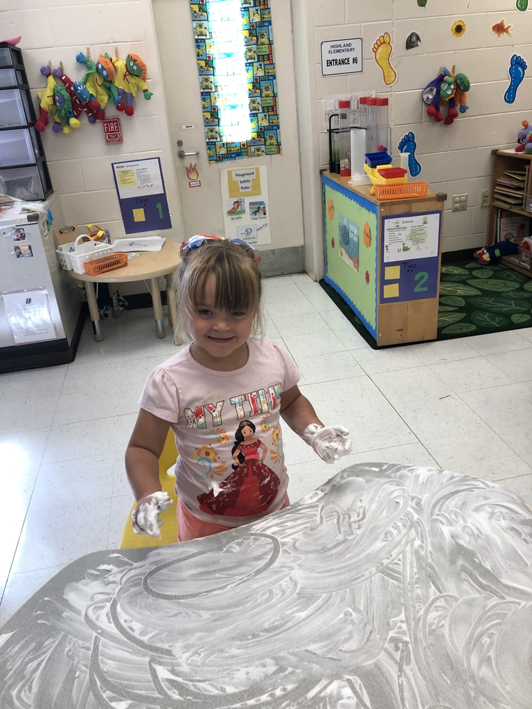 Kennedy making shapes in shaving cream!