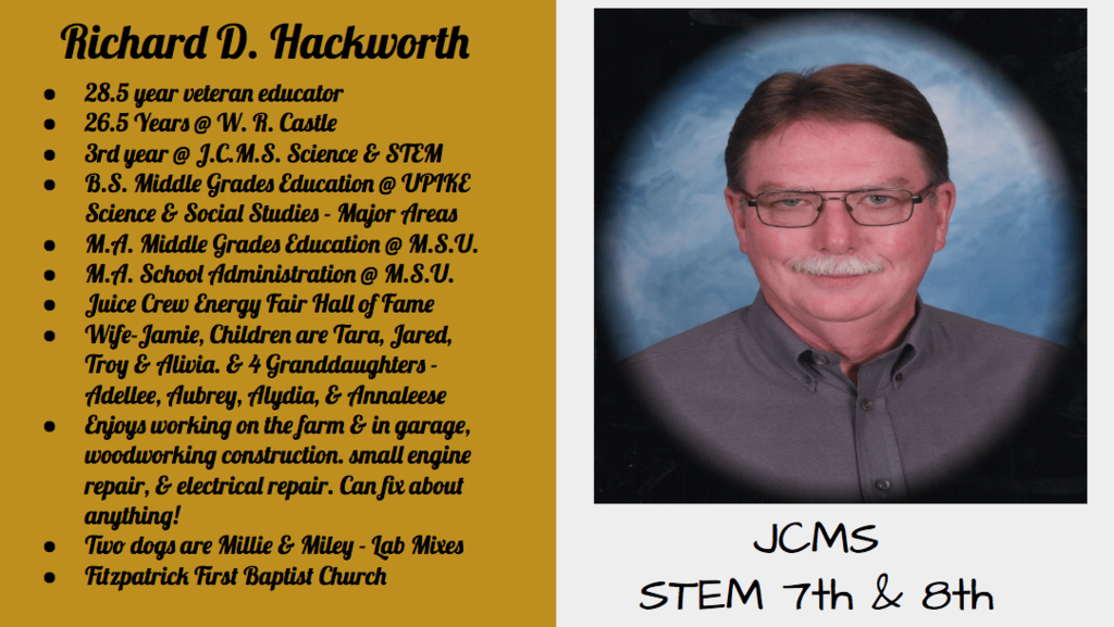 JCMS October Staff Spotlight - Mr. Hackworth