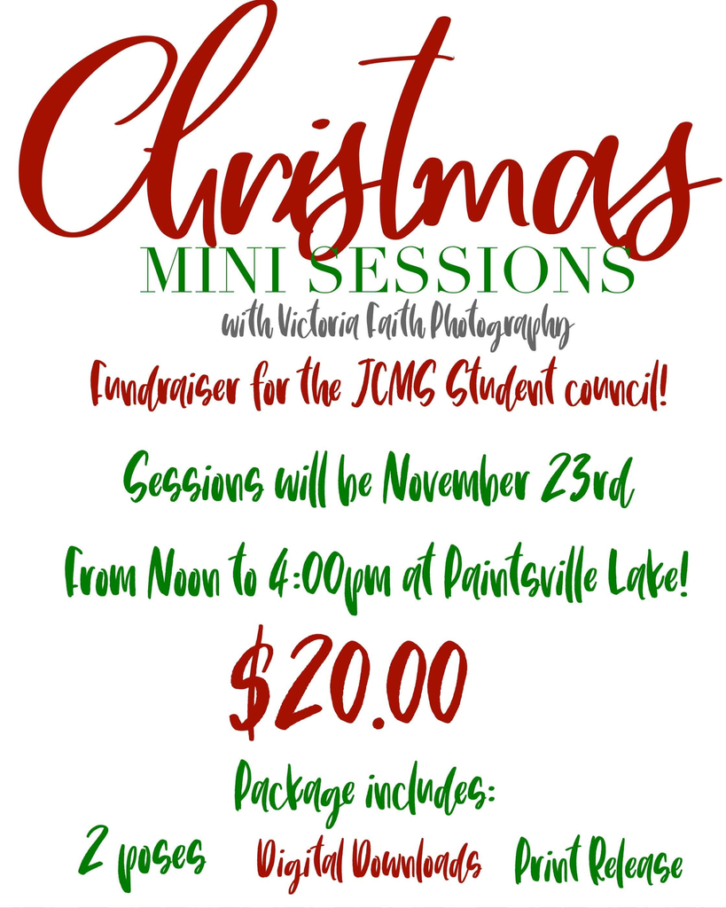 JCMS StuCo Christmas Photo Sessions with Victoria Childers! Only $20!!