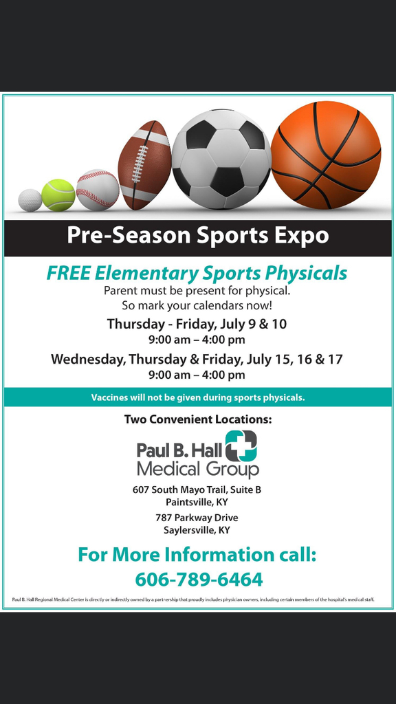 FREE Elementary Sports Physicals
